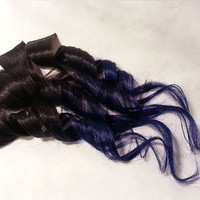 "Tape Hair 18"" #1B Royalty 100% human hair extensions Straight Royal Blue Ombre Dip Dye"