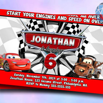 Cars Mater Disney Invitation Design by SaphireInvitations