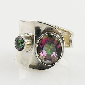 Mystic Topaz Sterling Silver Adjustable Wrap Ring
