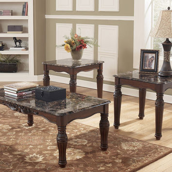 North Shore Faux Marble Coffee Table Set by Ashley Furniture