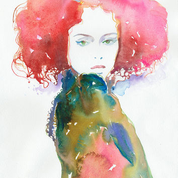 Print of Watercolor Fashion Illustration. Titled - Cheveux Rouge