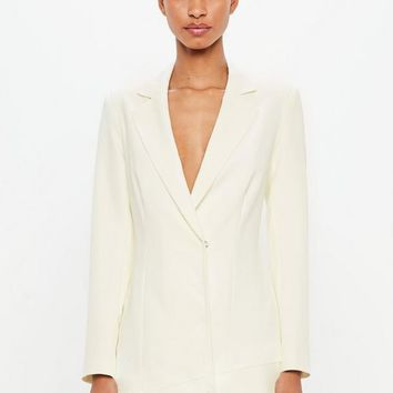Missguided - Peace + Love White Lace Hem Blazer Dress