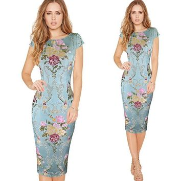Women Elegant 3D Flower Jacquard Fabric Casual Party Evening Mother of Bride Special Occasion Sheath Bodycon Dress