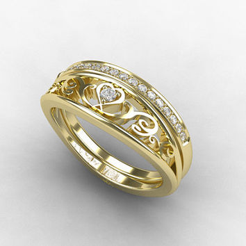 Engagement ring set, heart filigree ring, filigree engagement, diamond ring, wedding band, yellow gold, eternity, lace, engagement