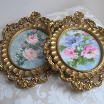 Vintage Pastel Floral Prints Wall Art Set Mod Depose Gold Ornate Frames Convex Glass Pink Flowers, Italy