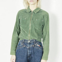 vtg 90s long sleeve shirt olive green corduroy top collared shirt grunge top 90s jumper oversized corduroy jacket SMALL sm s