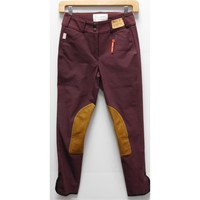 TS 1967 Bordeaux w/Tan Knee Patch Low Rise Front Zip Breech
