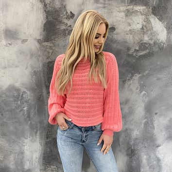 Truly Beloved Neon Coral Knit Sweater