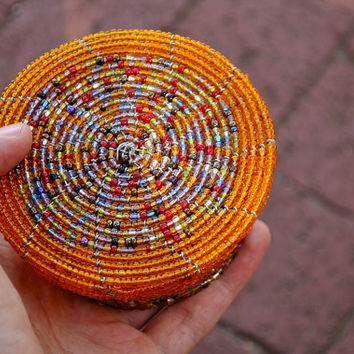 Beaded Jewelry Box (African wire & bead bowl / basket)