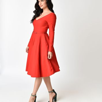 Unique Vintage 1950s Style Red Stretch Long Sleeve Maude Swing Dress