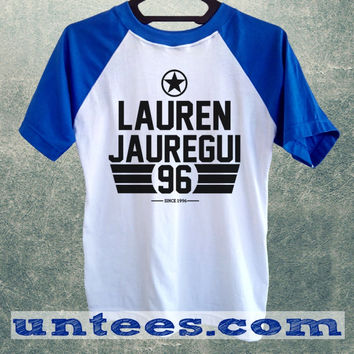 Lauren Jauregui Fifth Harmony Basic Baseball Tee Blue Short Sleeve Cotton Raglan T-shirt