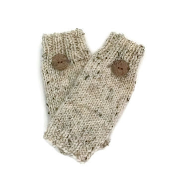 Fingerless Gloves, Knit Fingerless Gloves, Texting Gloves, Hand Warmers, Wrist Warmers, Gift For Her, Stocking Stuffer, Tan Gloves