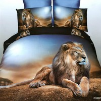 4PCS 3D Polyester lion Bedding Set Prints Duvet Cover Set Queen Size 1PC Bed sheet/1PC Comforter Cover/2 PCS Pillow Covers  (Siz