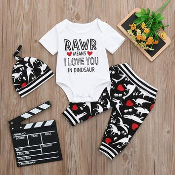 MUQGEW newborn Baby Boys 3pcs set pirnt letter Romper + Cartoon Dinosaur trousers + hats outfit Clothes for toddlers boys #XTN*