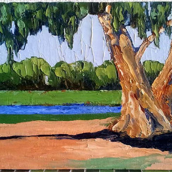 Impressionist Painting CALIFORNIA Plein Air Art Landscape Eucalyptus Summer FARM RIVER 11x14 Lynne French Free Shipping