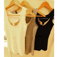 Black/Gray/White Summer Women Tank Tops Sexy Sequined Metal Wings Sleeveless Camis Casual Pullovers Women