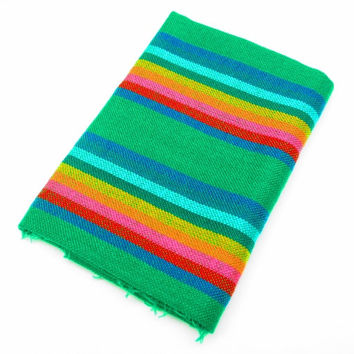 Mexican Fabric, aztec fabric, tribal fabric by the yard,colorful tribal fabric by the yard, green with colorful stripes