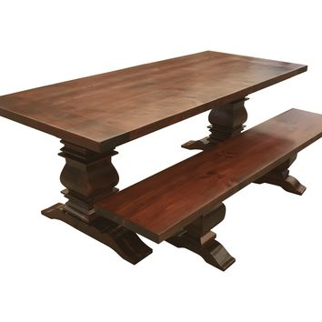 Red Chestnut Berkley Farmhouse Table with Matching Bench