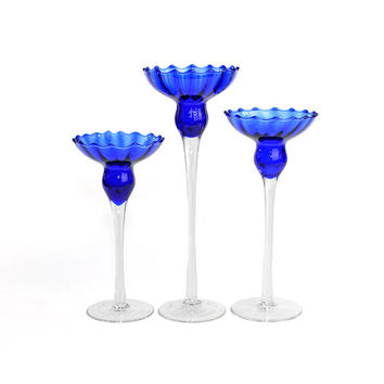 Cobalt Blue Glass Candlestick Trio - Stemmed Glassware, Handcrafted Blown Glass - Ribbed / Hobnail Styling, Optic Swirl - Vintage Home Decor