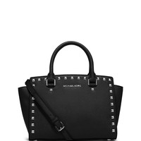 Selma Stud Medium Zip Satchel Bag, Black - MICHAEL Michael Kors
