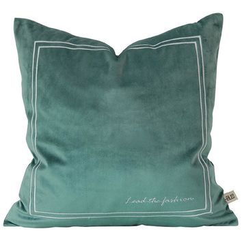 """Matcha Green Pure Velvet Embroidery Pillow Cover 18"""" x 18"""""""