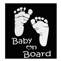Car Stickers Baby On Board Word Baby Car Stickers Vinyl Decal Waterproof Footprint Car Styling