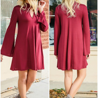 Somebody To Love Burgundy Bell Sleeve Keyhole Cutout Trapeze Dress