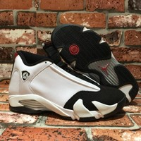 Nike Air Jordan 14 Retro Black Toe White  Basketball Sneaker