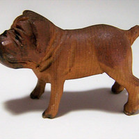 Carved Wood English Bulldog, Hand Painted, 2 Inch Dog Figurine, Vintage Miniature 218