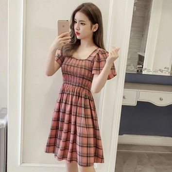 MingJieBiHuo Fashion womens dresses new arrival summer dress elastic waist plaid short sleeve Vintage a-line One-piece dress
