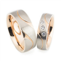 Unique His and Her Wave Cut Rose Gold Plated Titanium Wedding Band Set