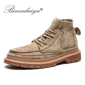 BIMUDUIYU  Autumn New Boots Men Casual Shoes High Top Male Ankle Boots Shoes Fashion Outdoor Sneakers Winter Sock Work Boots