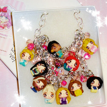 Disney Princess Jewelry, Disney Princesses Collection, Disney Princess Necklace, Disney Frozen Jewelry, Rapunzel, Charms Bracelet