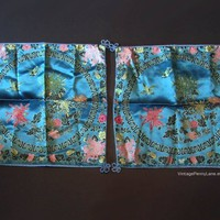 Vintage Asian Brocade Satin Cushion / Pillow Cover Set, Blue Embroidered Silk Thread Flowers and Birds