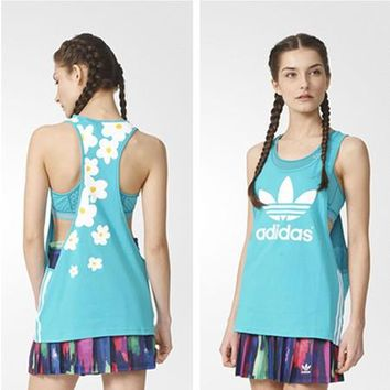 """Adidas"" Multicolor Clover Flower Letter Print Round Neck Sleeveless Vest T-shirt"