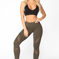 Go For A Jog Active Leggings - Olive