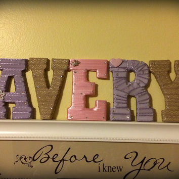 Baby Girl Nursery-Girl's Room Decor-Custom Letter Set-by Tightly Wound Designs
