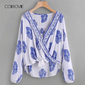 Printed Lace Up Front Wrap Top Spring Asymmetrical Long Sleeve Tribal Top V Neck Geometric Women Blouse