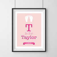 Children's Wall Print - Custom by name and birthdate. T is for Taylor - Available in MATTE or GLOSSY