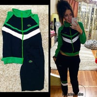 (2 pcs) 2016 Trending Fashion Women Mixed Color sportswear  Casual Zipper Outerwear Jacket and Sweatpants _ 1884