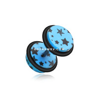A Pair of Multi Star Print Acrylic Fake Gauge Plug Earring (Blue)