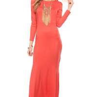 Coral High Low Mermaid Long Sleeve Maxi Dress