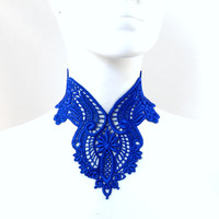 Blue Lace Necklace Bib Choker - Cobalt, Mermaid, Woman Jewelry, Victorian, Sapphire