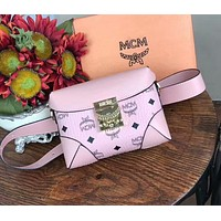 MCM Fashionable Women Leather Purse Waist Bag Single-Shoulder Bag Crossbody Pink