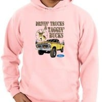 Ford Driving Trucks And Tagging Bucks Hunting Adult Sweatshirt Hoodie - Pink