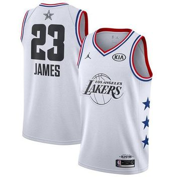 Men's Los Angeles Lakers LeBron James Jordan Brand White NBA All-Star Game Finished Swingman Jersey