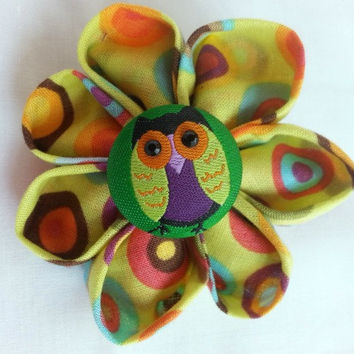 "Ponytail flower hair accessory ~ owl ponytail band - fabric flower ~ girls fall hair accessory ~ Halloween ponytail ~ 3 "" hair flower"