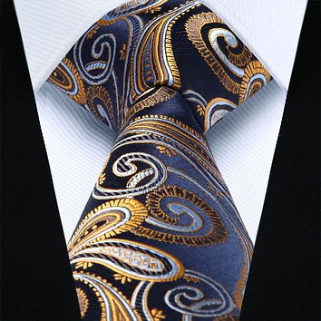 Navy Blue Gold Paisley Silk Necktie Pocket Square