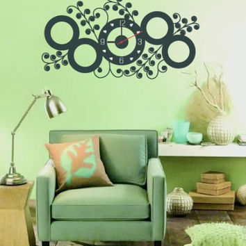 New Home Fashion Wall Clock Black Circle Flower Wall Decal Sticker Real Clock Wall Sticker Home Decor
