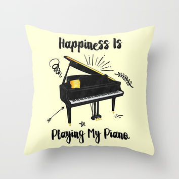 Playing My Piano Throw Pillow by Berwies